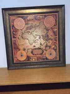 Antique style map wall decor