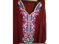 new indian pakistani asian ethnic floral maxi long dress kameez tunic kaftan abaya party evening