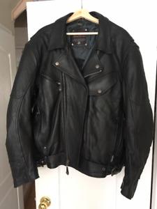 XXL Men's XPERT Motorcycle Black Leather Jacket with Kevlar