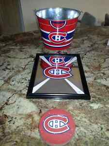 Montreal Canadiens Ice Bucket, Coasters and Mirror