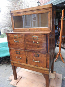 unique antique file cabinet with barrister bookcase on top