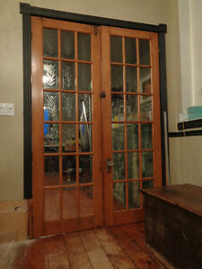 "Tall 91"" Antique French doors w bevelled glass w wheat sheaves"