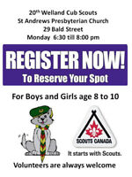 Welland Cub Scout Spaces available