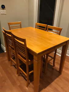 Solid wood dining set 8 chairs + table - Counter height!