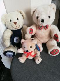 3 TEDDY BEARS. 2 WITH MOVEABLE LIMBS & A BEVERLY HILLS POLO CLUB BEAR.