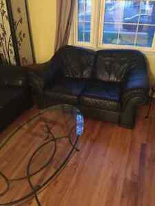 Premium leather couch and love seat with a glass table Regina Regina Area image 6