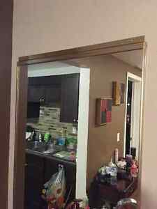 Tall gold brushed frame mirror and black glass vases Cambridge Kitchener Area image 4