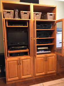 Entertainment and storage wall unit