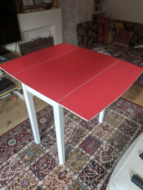 Wooden red folding dining table
