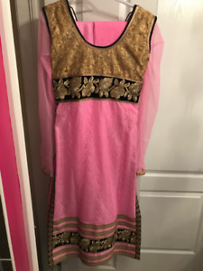Pink Anarkali with Gold Embrodery (Indian Suit)