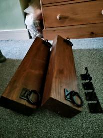 2 X chunky shelf's with cast iron