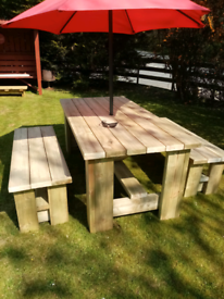 Chunky solid wooden garden furniture
