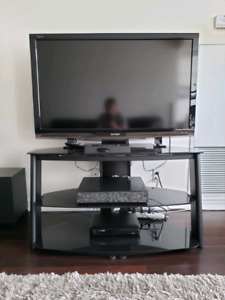 High end, black glass and steel, modern TV Stand
