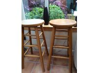 2 X Solid Pine High Bar Stools - FOR SALE