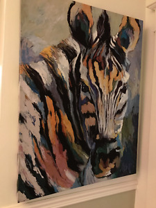 Colourful Zebra Canvas