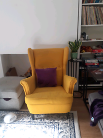 *can deliver* Strandmon yellow wing back chair ikea