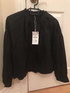 ZARA Trafaluc collection new black blouse - size small