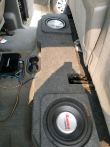 Dodge Ram subs with box and amp