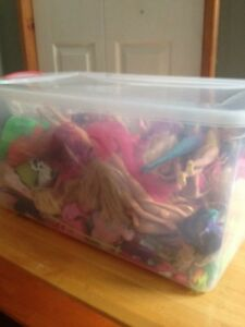Bin of assorted barbies, similar dolls, clothes and accessories