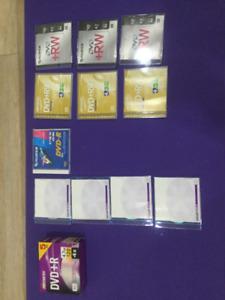 16 Blank DVDs, (5 DVD+R; 4 DVD+R; 1 DVD-R; 6 DVD+RW)