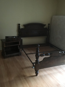 Bedroom set with 2 night tables and armoir, One coffee table