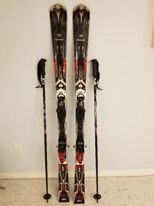 NEW Rossignol skis, bindings, matching poles & carrying  bag