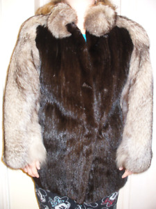 Mink Fur Jacket with Fox Lapel and sleeves