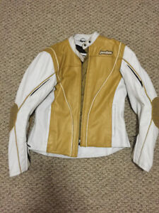 Leather Motorcycle Jacket Gold/White Ladies Large