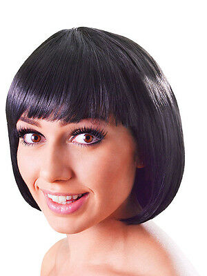 1920s Gangster Woman Fashion (Black Bob Wig Short Fancy Dress Flapper Fashion Babe Hairpiece 1920's New)