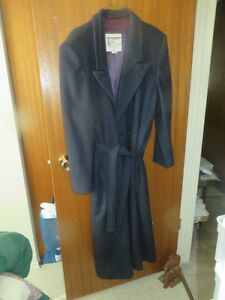 Navy Blue Long London Fog Wool Belted Coat sizw 16M  16 - 18