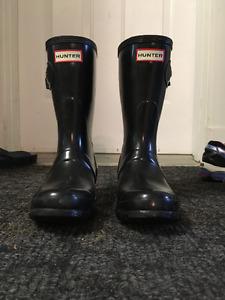 Black glossy hunter boots