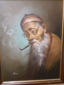 Oil painting of chinese man of signed artist