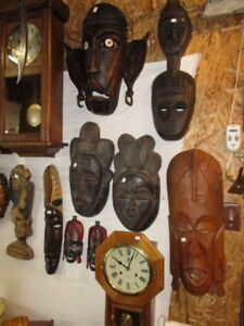 HAND CARVED WOOD MASKS FROM ESTATE