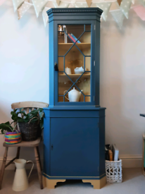 Upcycled display storage corner cabinet with cupboard and shelves
