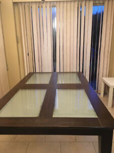 tempered glass top dining table.