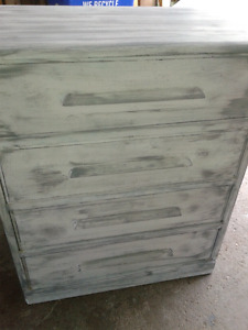 Solid wood antique painted 4 drawer dresser etc