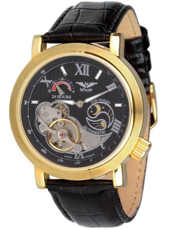 Minoir Uhren Modell Premiere gold/schwarz Automatikuhr Herrenuhr Damenuhr