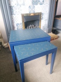 Upcycled nest of 2 tables