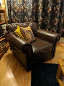 Dark brown chunky leather arm chair