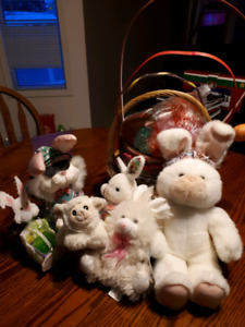 Easter Baskets and stuffed Bunnies