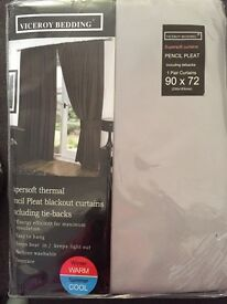 """Soft thermal grey pencil pleat curtains 90""""x72"""" (new)"""