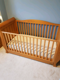Wooden sleigh cot bed