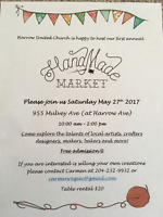Hand Made Craft Market May 27th -955 Mulvey Ave, Free Admission