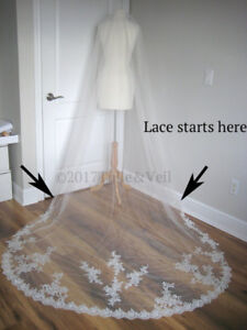 New, flower lace, cathedral veil