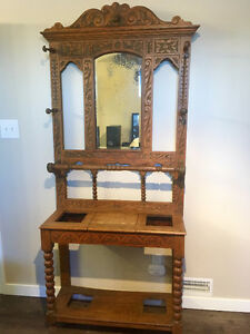 Antique Carved Wooden Hat Rack With Mirror
