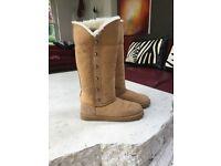 Original LFA Camel Sheepskin Tall Boots, UK size 8