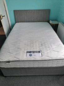 Double divan base,headboard & mattress