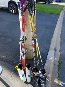 Men's and Women's Downhill Skiis Boots and Poles