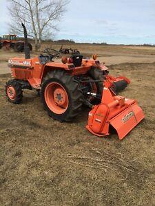 Kubota L2250 Tractor and Rototiller