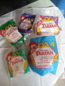 Five TARZAN 1999 release McDONALD.S Collectible Toys